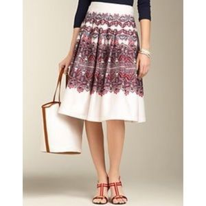 Talbots Red Blue White Paisley Pleated Skirt 12 P
